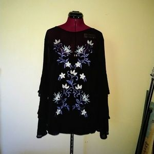 Thalia Sodi NWOT Blouse Embroidered Floral Sequins